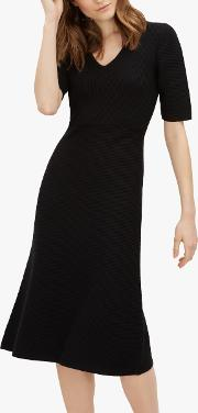 Contrast Ribbed Wool Knitted Dress