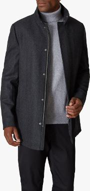Funnel Neck Coat With Quilted Lining