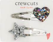 Crewcuts By  Girls' Glitter Heart And Star Hair Clips, Pack Of 2