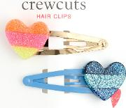 Crewcuts By  Girls' Glitter Heart Hair Clips, Pack Of 2