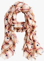 Jaqueline Wool Rich Dot Check Scarf