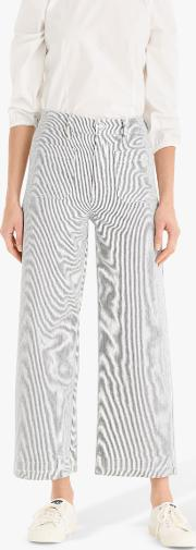 Striped Patch Pocket Wide Leg Cropped Trousers