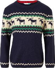 Boys' Stripe Moose Knit Jumper