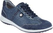 Elya Lace Up Trainers, Navy