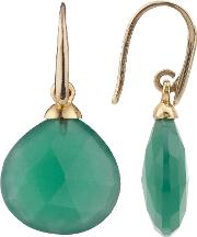 Gold Plated No Collet Tear Drop Earrings, Green Onyx