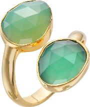 Gold Plated Onyx Stacked Two Tear Drop Ring, Green