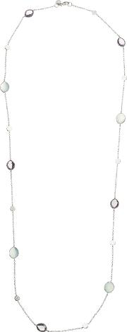 Long Multi Stone Chain Necklace, Silvermulti
