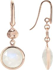 Rose Gold Plated Rainbow Moonstone Double Drop Earrings, Rose Gold