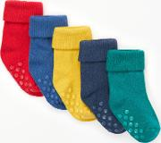 Baby Cotton Rich Roll Top Socks, Pack Of 5