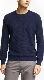 Cotton Cashmere Textured Raglan Crew Jumper