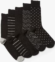 Multi Pattern Socks, Pack Of 5