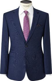 Semi Plain Super 100s Wool Travel Suit Jacket, Bright Blue