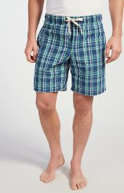 Swanage Check Lounge Shorts, Bluegreen