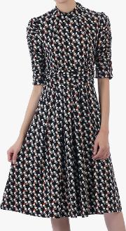 Funnel Neck Abstract Jersey Dress