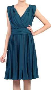 Plunging Neck Pleated Dress