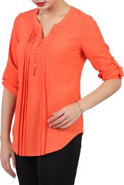 Textured Button Front Blouse