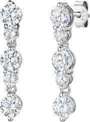 5 Rhodium And Cubic Zirconia Drop Earrings, Silver