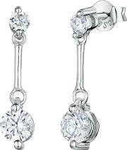 Cubic Zirconia And Sterling Silver Drop Earrings