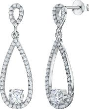 Cubic Zirconia Oval Drop Earrings