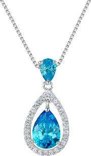 Cubic Zirconia Suspended Pear Stone Necklace