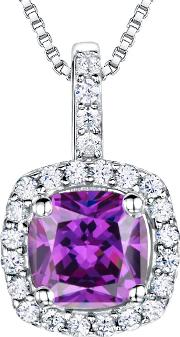 Sterling Silver Cubic Zirconia Square Cushion Pendant