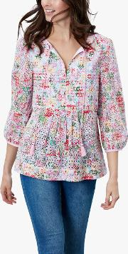 Daria Floral Print Broderie Anglaise Cotton Blouse