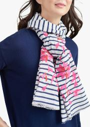 Flora Stripe And Floral Embroidery Cotton Scarf