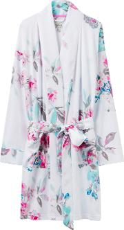 Serena Floral Print Dressing Gown, White Floral