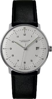 0274700.00 Men's Max Bill Automatic Leather Strap Watch