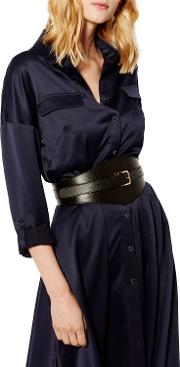 Leather Wide Buckle Waist Belt