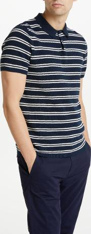 Knitted Stripe Polo Shirt