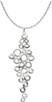 Coil Cluster Pendant Necklace, Silver