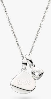 Personalised Sterling Silver Pebble And Tag Birthstone Pendant Necklace