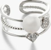 Pearl And Cubic Zirconia Stacked Cocktail Ring