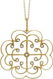 9ct Gold Portobello Large Diamond Lattice Pendant Necklace