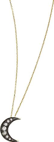 9ct Gold Portobello Starry Night Diamond Moon Pendant Necklace, Goldblack