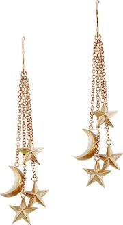 9ct Rose Gold Moon And Stars Drop Earrings, Rose Gold