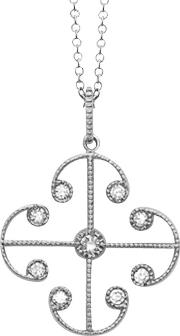 9ct White Gold Diamond Lattice Pendant