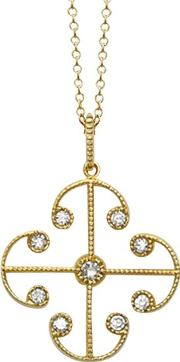 9ct Yellow Gold Portobello Small Diamond Lattice Pendant Necklace