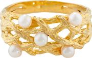 Burlington 9ct Yellow Gold And Pearl Willow Ring, Gold