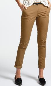 Chinos With Leather Belt