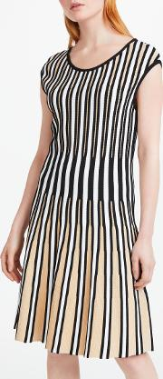 Knitted Pleated Striped Dress
