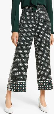 Valika Abstract Print Wide Leg Cropped Trousers