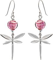 Murano Glass Dragonfly Drop Earrings