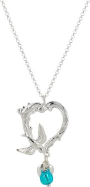 Ornate Swallow Heart Pendant Necklace