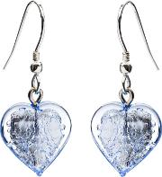 Sterling Silver Bohemian Glass Heart Drop Earrings