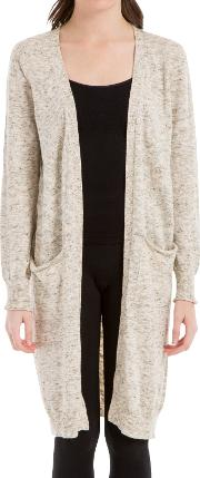 Long Knitted Cardigan, Oatmeal