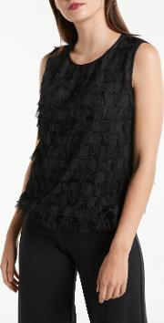 Sleeveless Fringe Detail Top