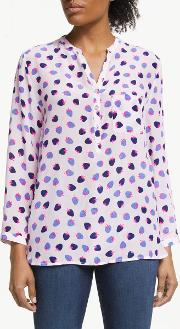 Stanford Strawberry Print Silk Blouse