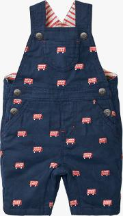 Baby Bus Embroidered Dungarees